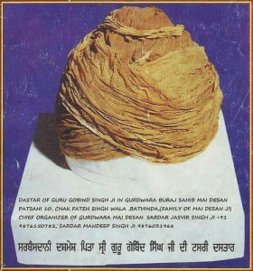Original turban of Guru Gobing Singh Jee